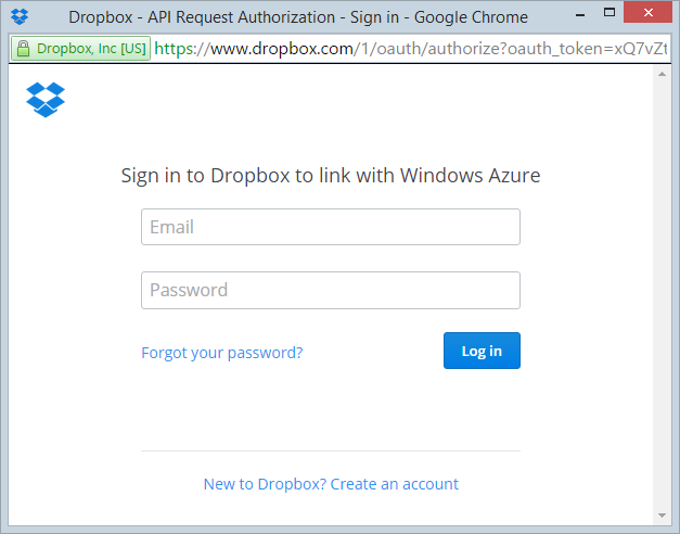 Dropbox asking for credentials